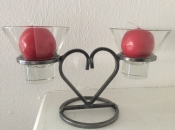 Double Heart Candlholder
