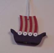 Wooden Viking Ship Ornament