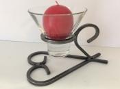 Danish Wrought Iron Heart Candleholder