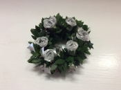 Silver Roses Surrounded by Greens Candle Ring