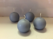 Ball candle, blue-gray, package of 4