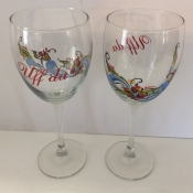 Uff Da Wine Glass With Rosemaling Design