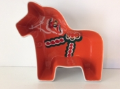Orange Dala Horse Ceramic Dish