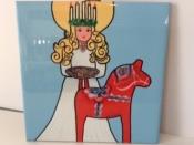 Lucia and Dala Horse Ceramic Tile