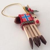 Wooden Reindeer Ornament With Norwegian Flag