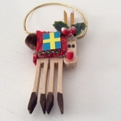 Wooden Reindeer Ornament With Swedish Flag
