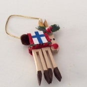 Wooden Reindeer Ornament with Finnish Flag