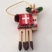 Wooden Reindeer Ornament with Danish Flag