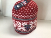 Red/white and black Knit Hat
