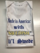 Made in America with Swedish Parts Onesie and Hat
