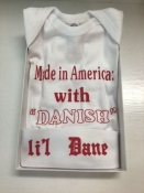 Made in America with Danish Parts Onesie and Hat