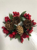 Holly and Pine Cone Candle Ring
