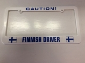 Caution Finnish Driver, License Plate Holder
