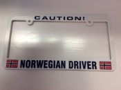 Caution Norwegian Driver, License Plate Holder