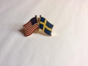 USA and Sweden-Lapel Pins with Crossed Flags