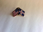 USA and Iceland-Lapel Pins with Crossed Flags