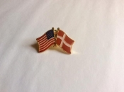 USA and Denmark-Lapel Pins with Crossed Flags