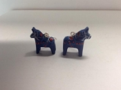 Dala Horse Earrings in Blue
