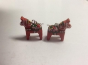 Dala Horse Earrings in Red