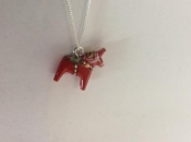 Dala Horse Necklace in Red