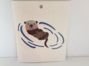 Happy Otter dishcloth